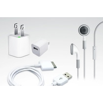Kit Iphone 3 4 4s Ipod Audifonos Manos Libres Cargador Cable