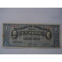 Billete 1 Peso Gobierno Estado De Chihuahua 1914 Buen Estado