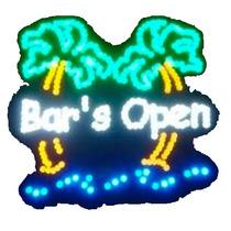 Letrero Anuncio Luminoso Abierto Bar Palmas Hm4