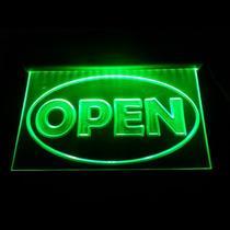 Letrero Luminoso Led Verde Open Acrilico Grabado Bar