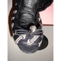 Juicy Couture Black Flat Zapatos Talla 3mx 6 Eu Mn4