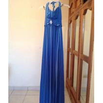 Vestido De Noche Azul Talla L Envio Gratis