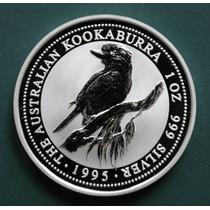 Moneda 1995 Kookaburra Australiana 1 Oz Troy .999 Plata Pura