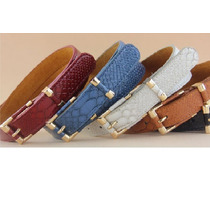 Cinturon Fashion Dama Piel Genuina Tipo Piel De Vivora Op4