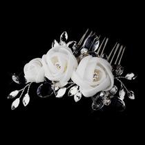 Divina Peineta Novia Rosas Chifon Cristal Oval/tipo Diamante