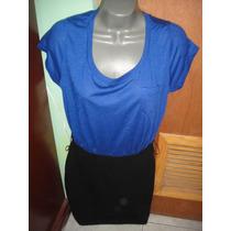 Conjunto Falda Y Blusa Negro Y Azul