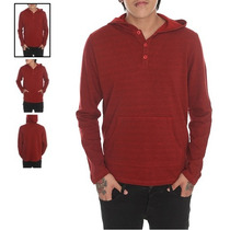 Hot Topic Sudadera Red French Terry Henley Hoodie M