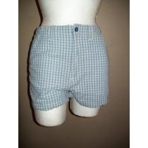 Jlny!!! Moderno Short A Cuadros Azul Y Blanco, Talla 7-8
