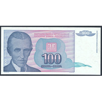 Grr-billete De Yugoslavia 100 Dinara 1994 - Nikola Tesla