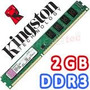 Memoria Ram 2 Gb, Ddr3 1333 Mhz Pc3-10600 Kingston Para Pc