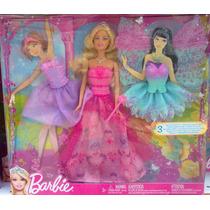 Barbie Gran Set Con Vestidos De Princesa Y Hada