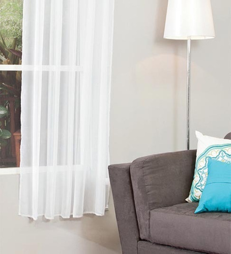 2 cortinas cortas translucidas blanca o beige vianney hm4 for Cortinas translucidas