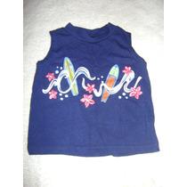 Camisa Sin Manga Azul Marino Bebe Niño 6-9 Meses