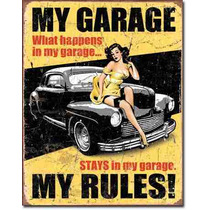 Poster Anuncio Lamina Hot Rod Mi Garage Mis Reglas Pin Up