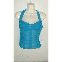 Blusa Straples Azul Turquesa