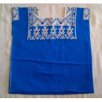 Blusa Artesanal Chiapaneca Color Azul Turqueza