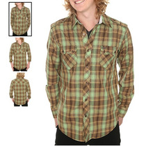Hot Topic Camisa Atticus Brown And Green Plaid Woven Shirt S