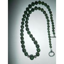 Precioso Collar Italiano De Jade Verde Y Plata 925