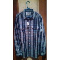 Nautica Jeans Camisa Casual Manga Larga A Cuadros En Azul