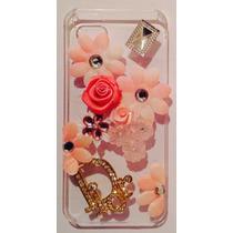Funda Iphone 5s / 5 Pedrería 3d Dior Flores Rosas Jem