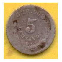 5 Centavos 1896 Plata Guanajuato Presidente Porfirio Díaz