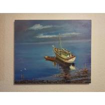 Pintura Al Oleo Bote De Pesca Encallado