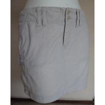 Minifalda De Pana Color Beige, Talla 6!! Fch339