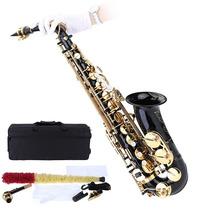 Saxofon Alto Sax Negro Mib + Estuche Accesorios Barato Nuevo