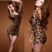 Moda Sexy Mini Vestido Animal Print Leopardo Con Mangas
