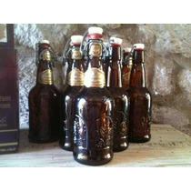 Antiguas Botellas Tapa De Porcelana Cerveza Cuahutemoc
