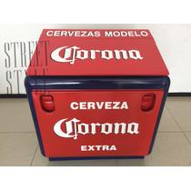 Hielera Metalica Oldfashion Corona Modelo Grande 3 Cartones