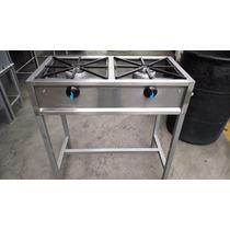 Estufa De Acero Inoxidable 2 Quemadores Aluminio