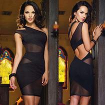 Sexy Vestido Negro Transparencias Y Abertura Moda Fiesta