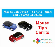 Mouse Usb Optico Tipo Auto Ferrari Led Colores 3d 800dpi