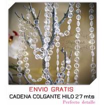 Rollo Cadena De Acrilicos 27 Mts (hilos) Diamante Colgante