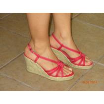 Sandalias Casuales Wedge Color Rojo