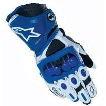 Guantes De Piel Alpinestars Blanco Con Azul Modelo Gp - Pro
