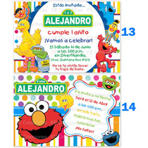Invitaciones Cumpleaños Plaza Sesamo Elmo Cookie Monster