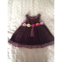 Vestido De Corduroy 6-9 Meses, Color Cafe.