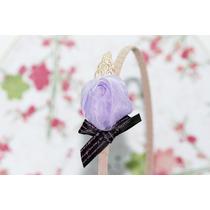 Diadema Florecita Púrpura Y Café Dia23