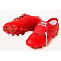 Zapato De Futbol Manriquez Profesional Piel Total Rojo