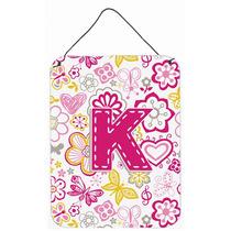 Letra K Flores Y Mariposas Pared De Color Rosa O Puerta Colg