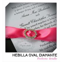 25 Hebillas Oval Diamante 2 X 1.6 Cm Decoracion Invitaciones