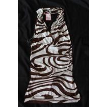 Wixy Blusa Animal Print Cebra Cafe Drapeada Sin Espalda Hal