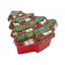 Envase De Alimento - Árbol De Navidad Forma W Tapa Torta De