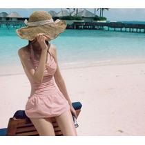 Hermoso Traje De Baño Completo Tipo Vestido Color Rosa