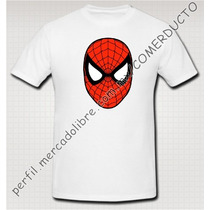 Playera Spiderman Face Blanca Economica Kwzw