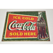 Tsn1393 Letrero Lamina Decorativa Coca Cola Ice Cold Vv4