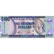 Grr-billete De Guyana 100 Dollars 2005 - 2012