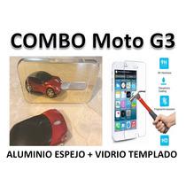Funda Protector Espejo + Vidrio Templado Moto G3 (3ra. Gen.)